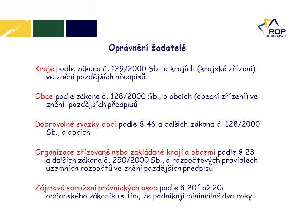 Oprávnění žadatelé Kraje podle zákona č. 129/2000 Sb., o krajích (krajské zřízení) ve znění pozdějších předpisů.