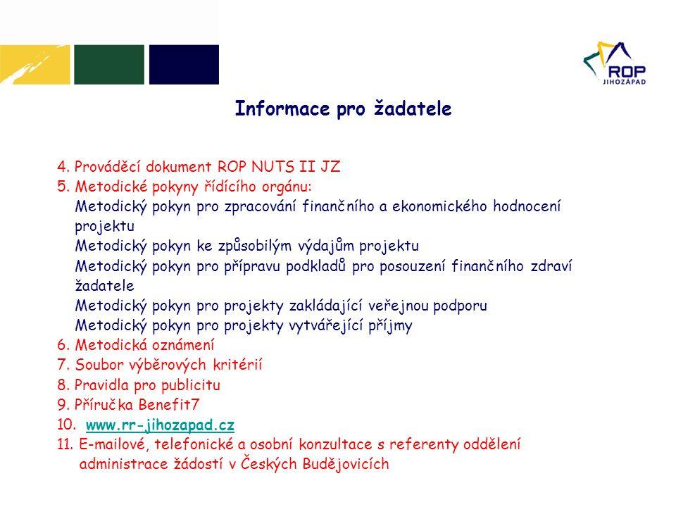 Informace pro žadatele