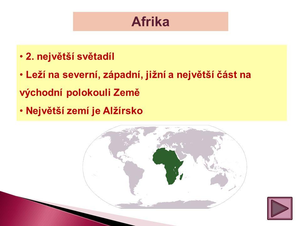 Afrika 2. největší světadíl