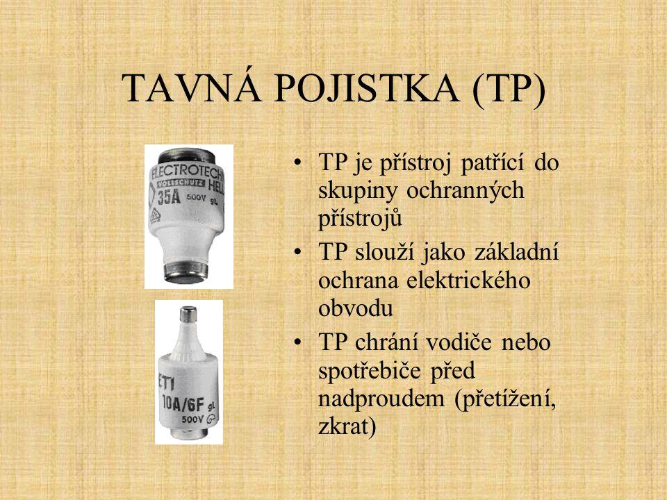 TAVNÁ POJISTKA (TP) TP je přístroj patřící do skupiny ochranných přístrojů. TP slouží jako základní ochrana elektrického obvodu.
