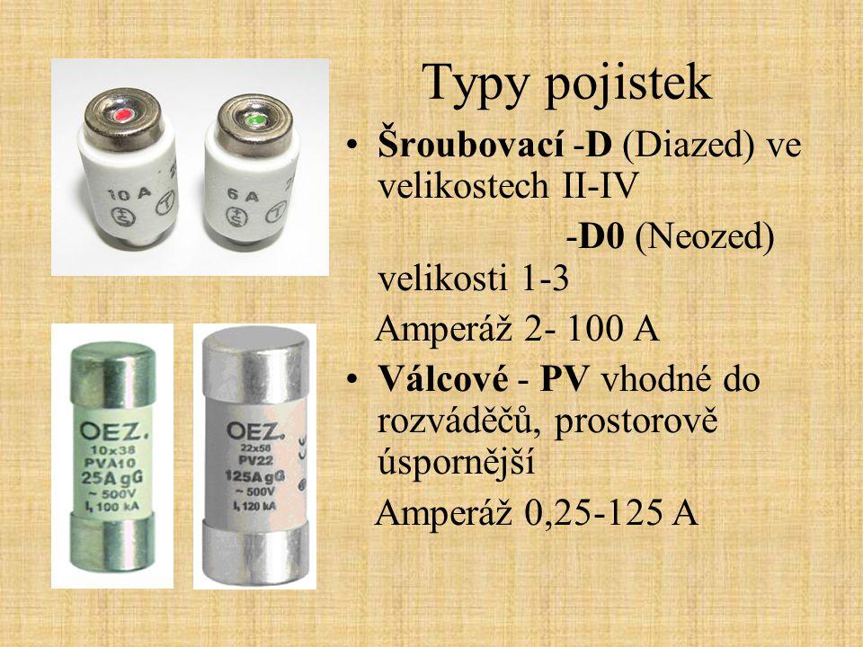 Typy pojistek Šroubovací -D (Diazed) ve velikostech II-IV