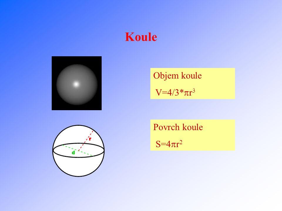 Koule Objem koule V=4/3*r3 Povrch koule S=4r2