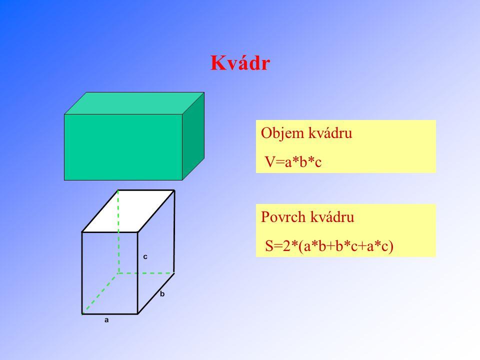 Kvádr Objem kvádru V=a*b*c Povrch kvádru S=2*(a*b+b*c+a*c)