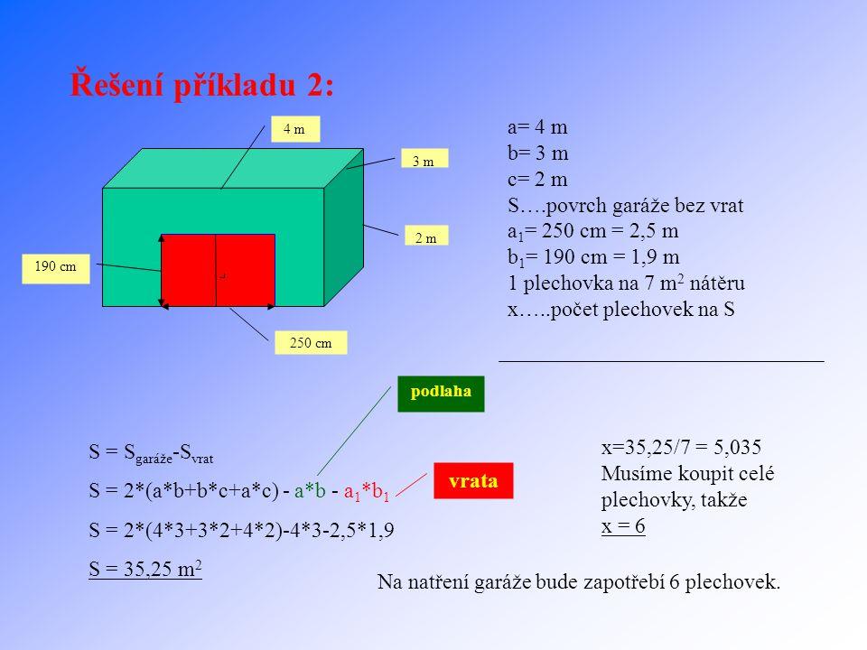 Řešení příkladu 2: a= 4 m b= 3 m c= 2 m S….povrch garáže bez vrat