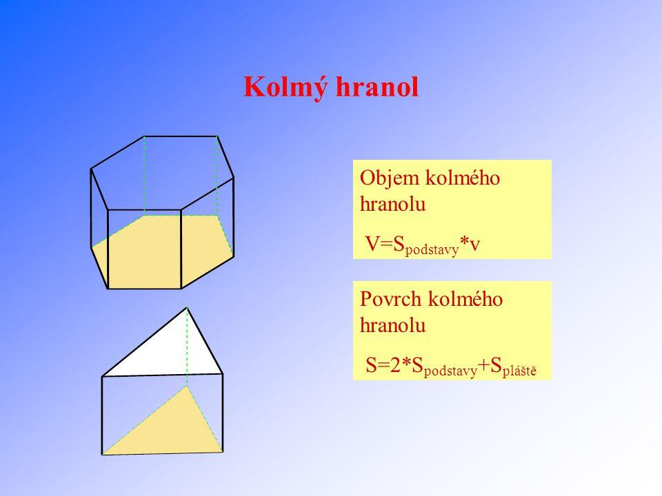 Kolmý hranol Objem kolmého hranolu V=Spodstavy*v