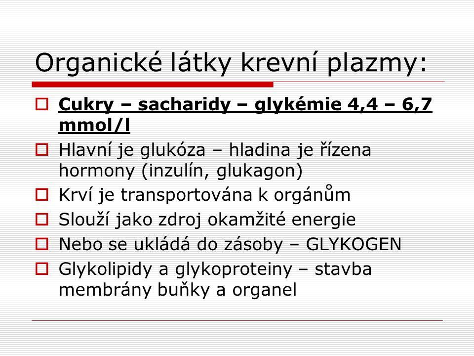 Organické látky krevní plazmy: