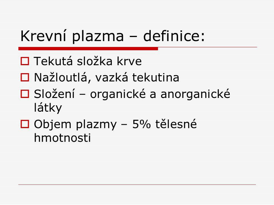 Krevní plazma – definice: