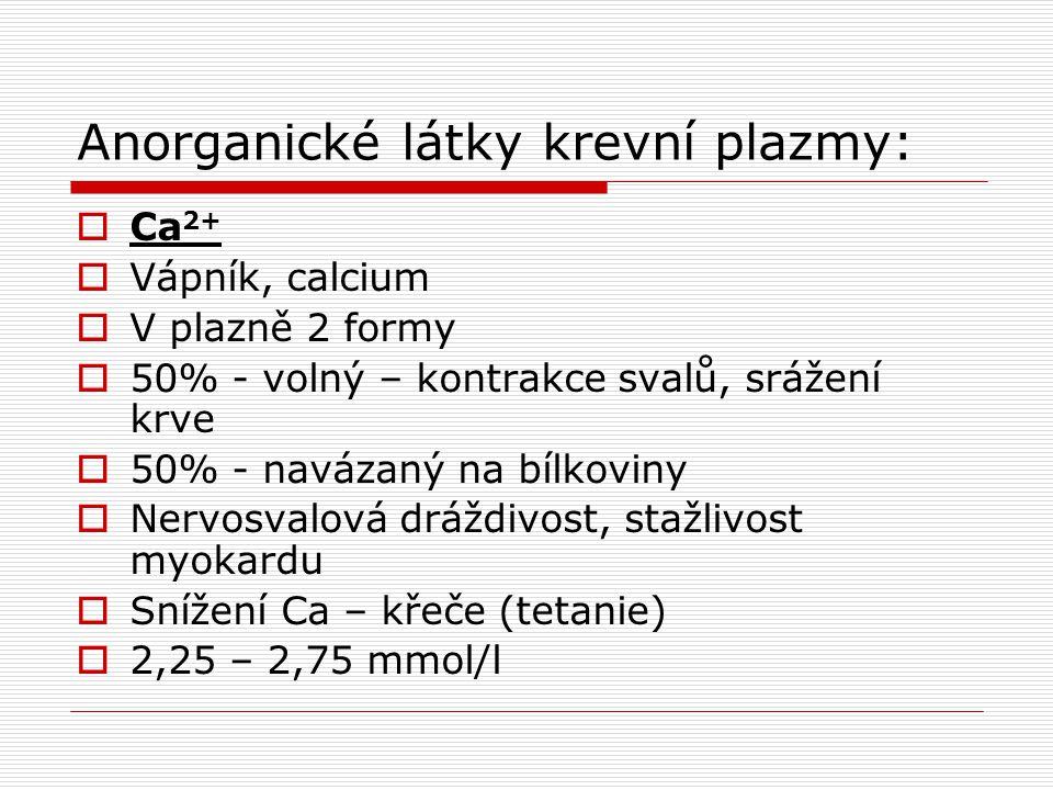 Anorganické látky krevní plazmy: