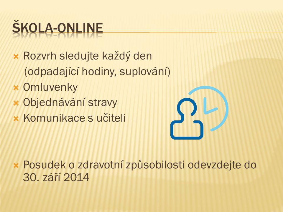 Škola-online Rozvrh sledujte každý den (odpadající hodiny, suplování)