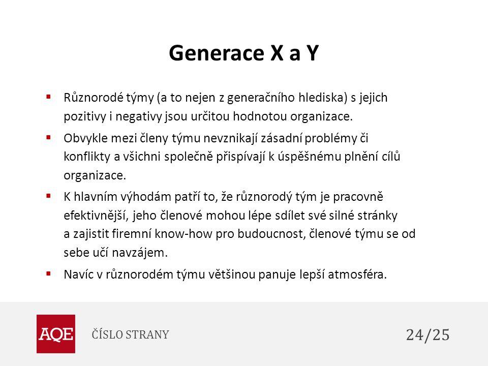 Generace X a Y Různorodé týmy (a to nejen z generačního hlediska) s jejich pozitivy i negativy jsou určitou hodnotou organizace.