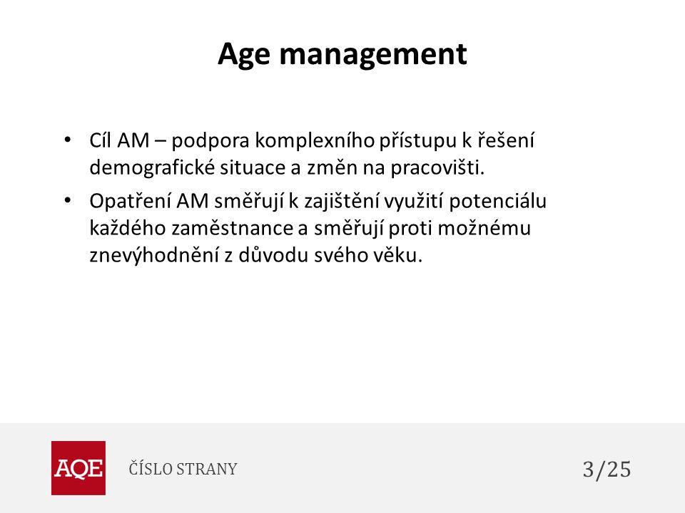 Age management Cíl AM – podpora komplexního přístupu k řešení demografické situace a změn na pracovišti.