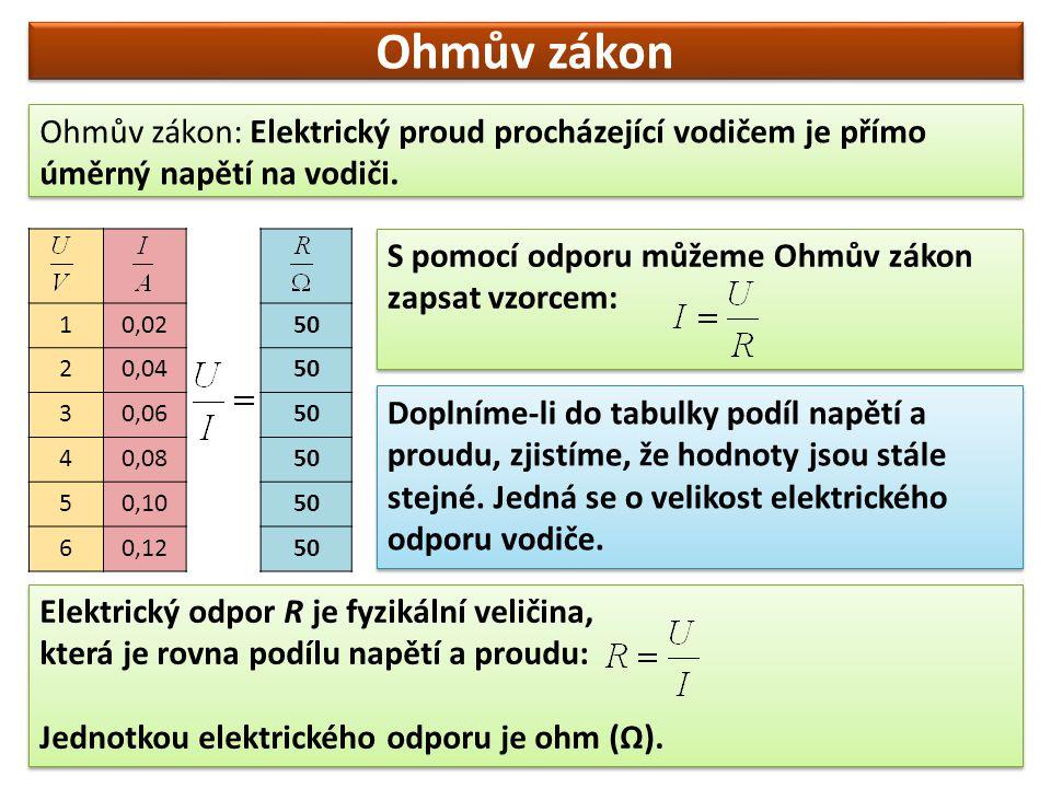 Ohmův zákon Ohmův zákon: Elektrický proud procházející vodičem je přímo úměrný napětí na vodiči. 1.