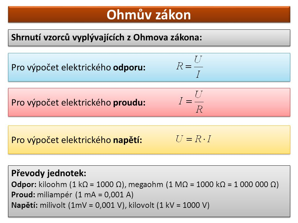Ohmův zákon Shrnutí vzorců vyplývajících z Ohmova zákona: