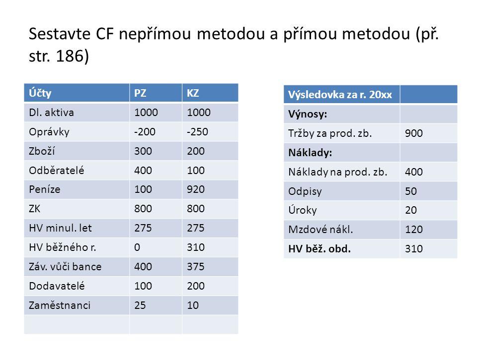 Sestavte CF nepřímou metodou a přímou metodou (př. str. 186)