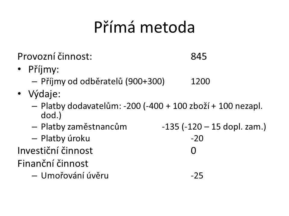 Přímá metoda Provozní činnost: 845 Příjmy: Výdaje: