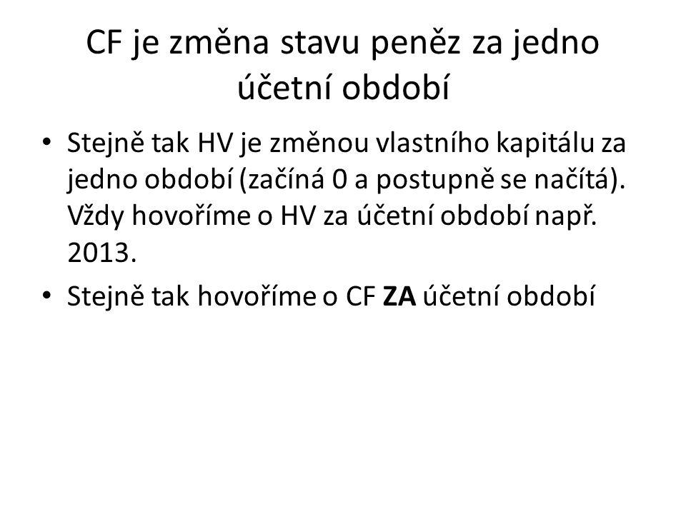 CF je změna stavu peněz za jedno účetní období