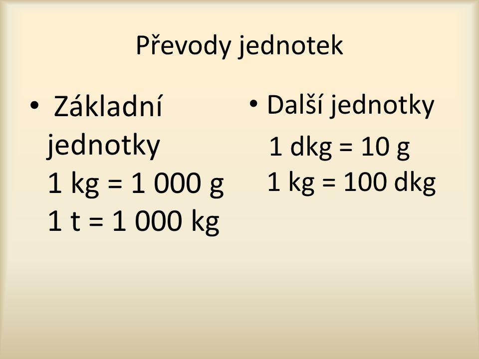 Základní jednotky 1 kg = 1 000 g 1 t = 1 000 kg