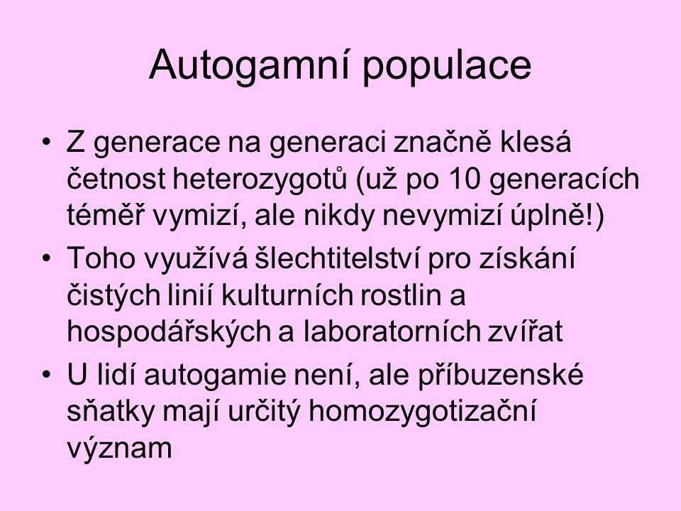 Autogamní populace Z generace na generaci značně klesá četnost heterozygotů (už po 10 generacích téměř vymizí, ale nikdy nevymizí úplně!)