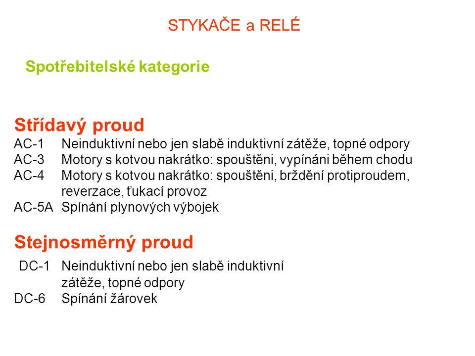 STYKAČE a RELÉ Spotřebitelské kategorie.