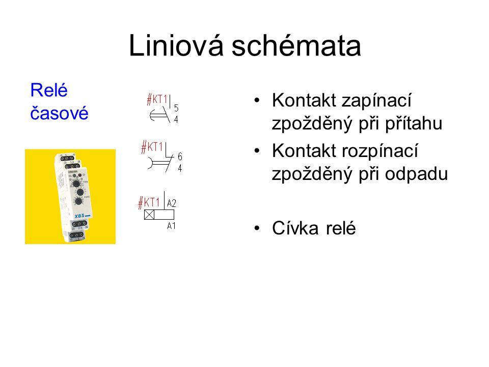 Liniová schémata Relé časové Kontakt zapínací zpožděný při přítahu