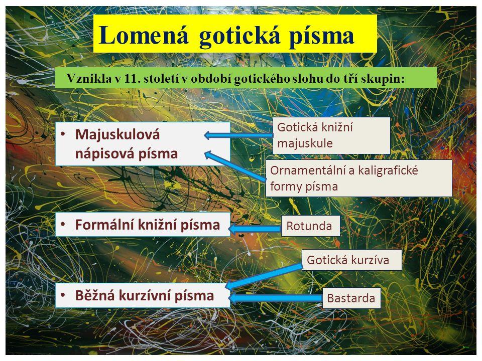 Lomená gotická písma Majuskulová nápisová písma Formální knižní písma