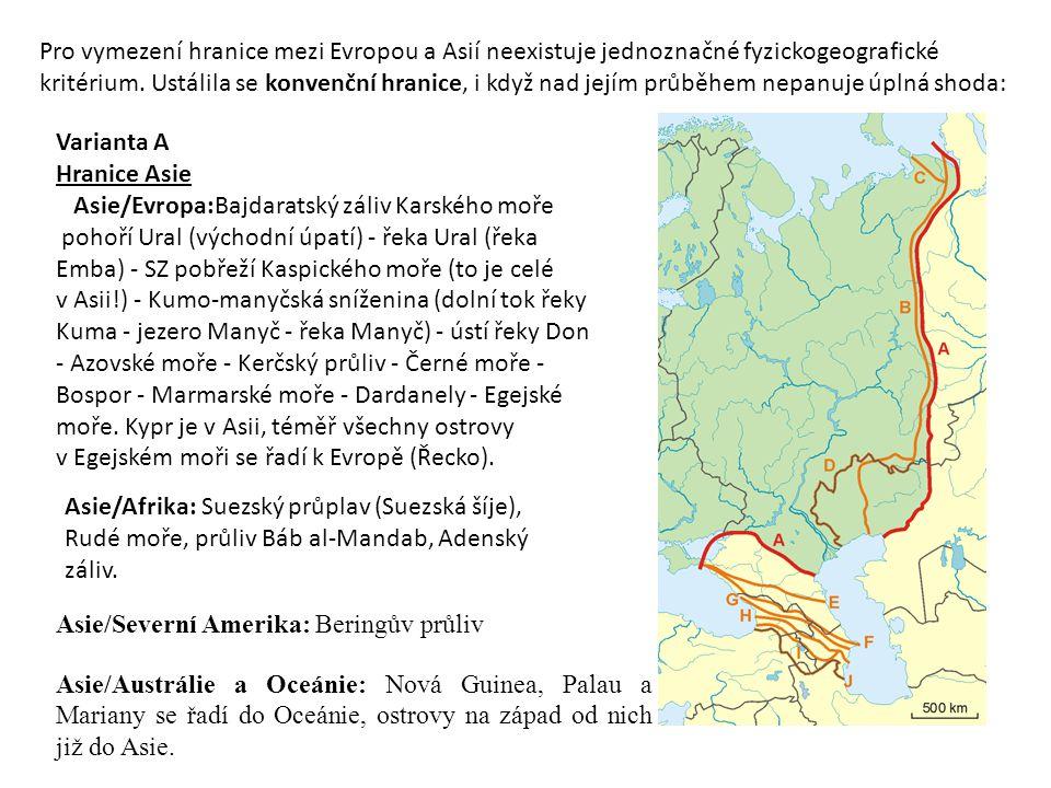 Pro vymezení hranice mezi Evropou a Asií neexistuje jednoznačné fyzickogeografické kritérium. Ustálila se konvenční hranice, i když nad jejím průběhem nepanuje úplná shoda: