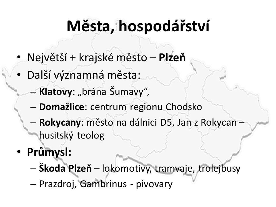 Města, hospodářství Největší + krajské město – Plzeň