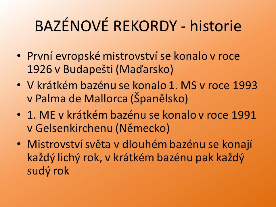 BAZÉNOVÉ REKORDY - historie