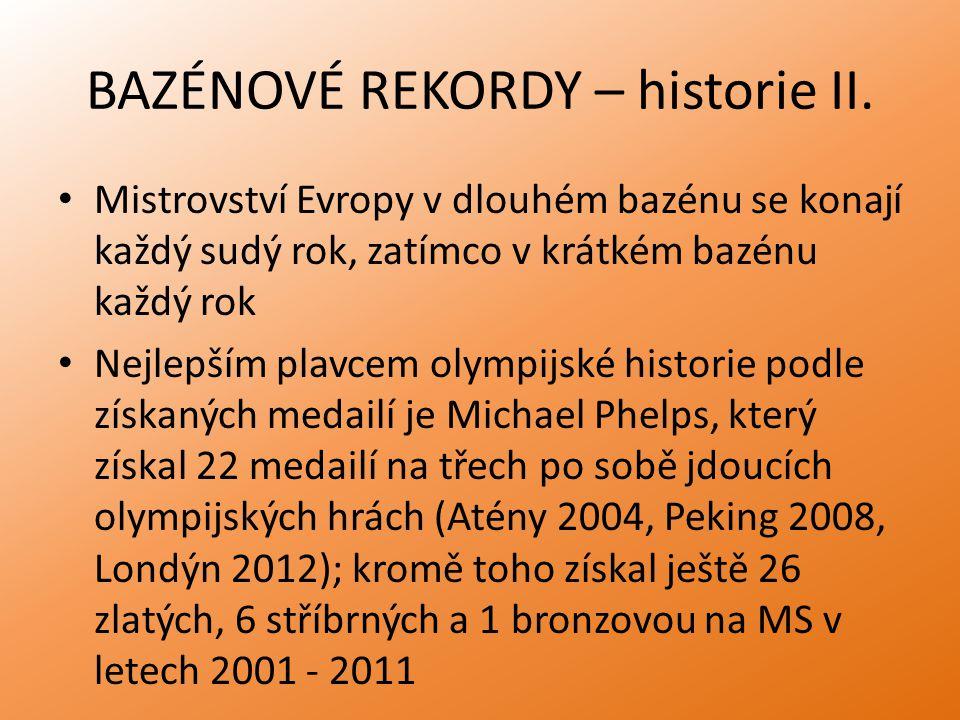 BAZÉNOVÉ REKORDY – historie II.