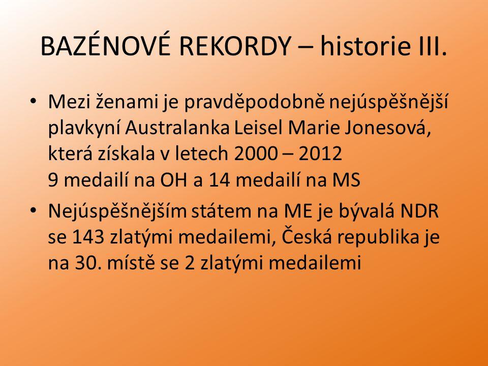 BAZÉNOVÉ REKORDY – historie III.