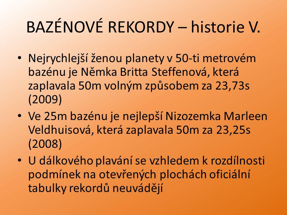 BAZÉNOVÉ REKORDY – historie V.