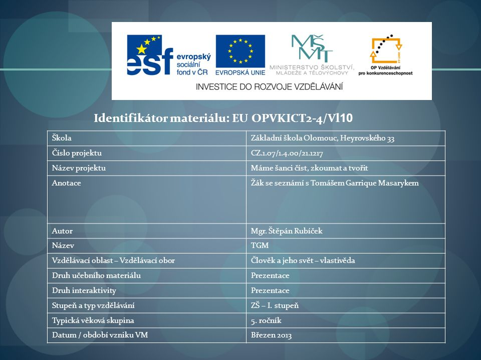 Identifikátor materiálu: EU OPVKICT2-4/Vl10