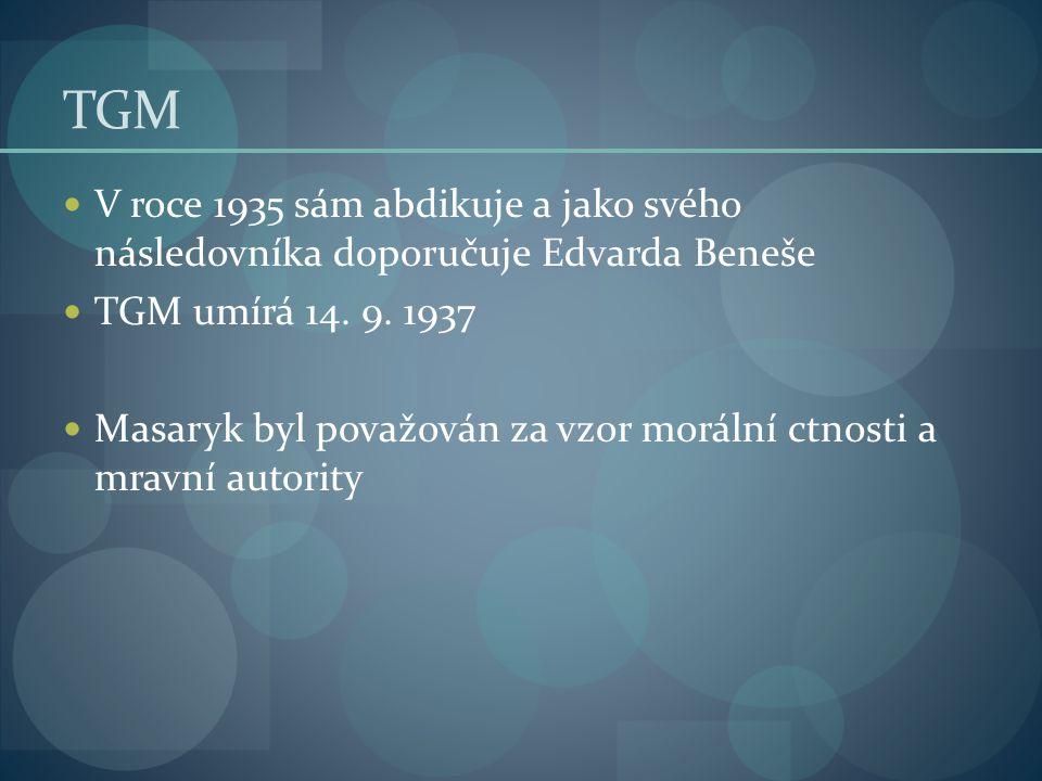 TGM V roce 1935 sám abdikuje a jako svého následovníka doporučuje Edvarda Beneše. TGM umírá 14. 9. 1937.