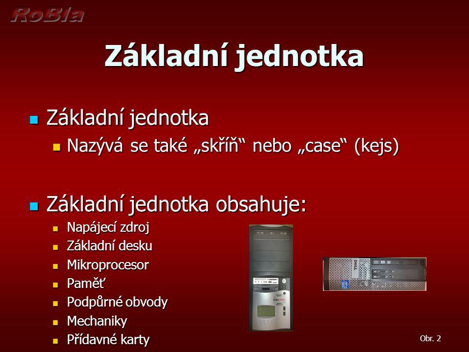 Základní jednotka Základní jednotka Základní jednotka obsahuje:
