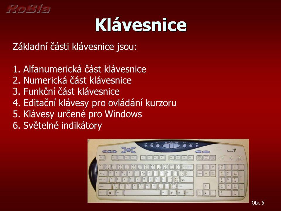 Klávesnice Základní části klávesnice jsou: