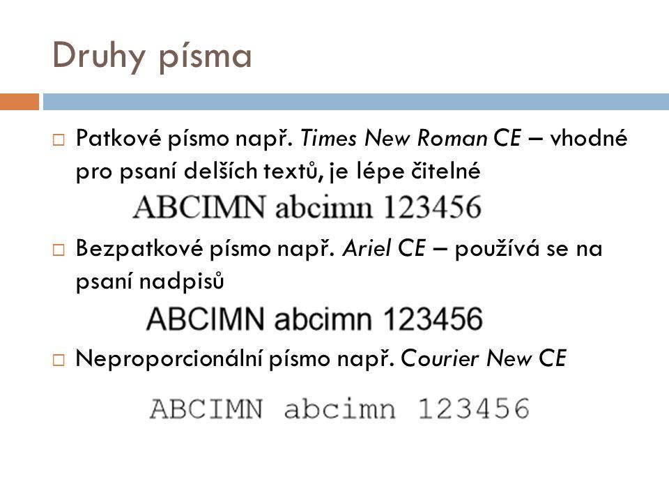 Druhy písma Patkové písmo např. Times New Roman CE – vhodné pro psaní delších textů, je lépe čitelné.