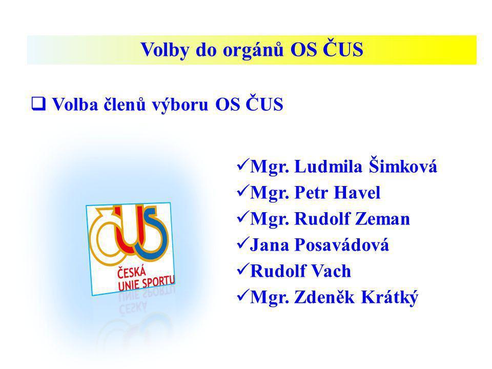 Volby do orgánů OS ČUS Volba členů výboru OS ČUS Mgr. Ludmila Šimková