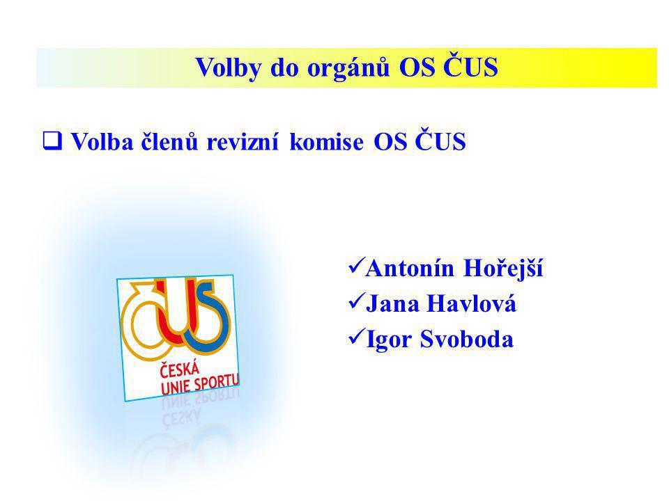Volby do orgánů OS ČUS Volba členů revizní komise OS ČUS