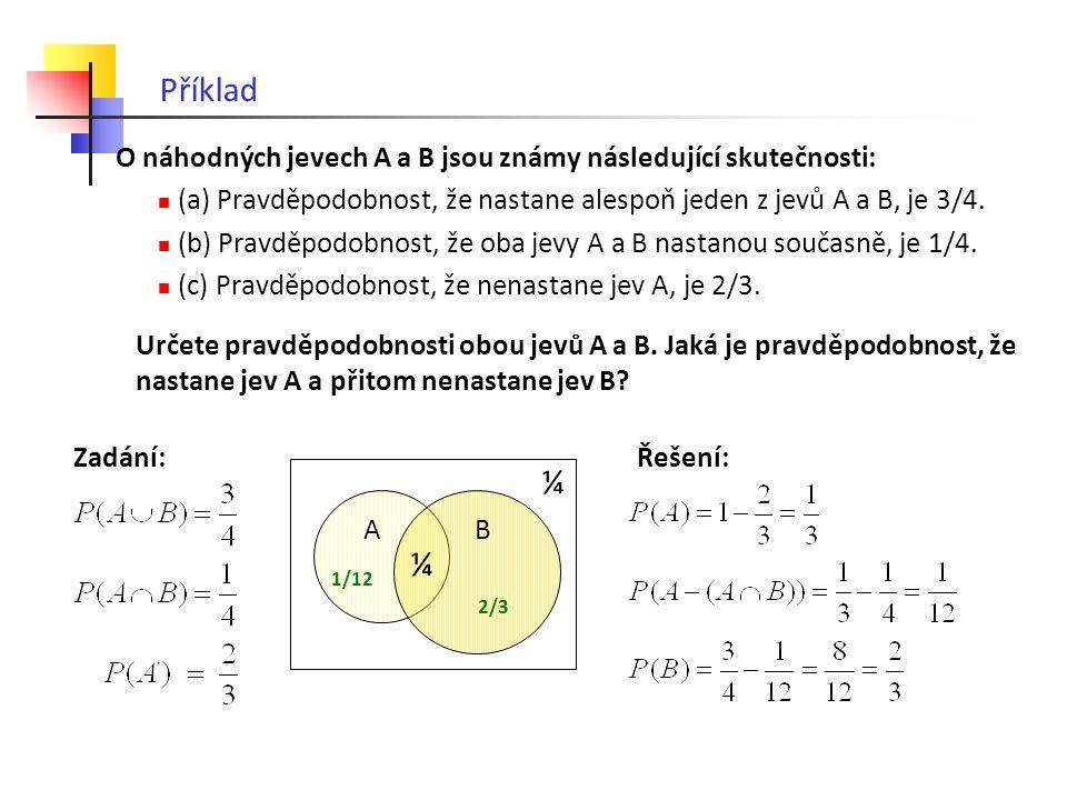 Příklad O náhodných jevech A a B jsou známy následující skutečnosti: (a) Pravděpodobnost, že nastane alespoň jeden z jevů A a B, je 3/4.