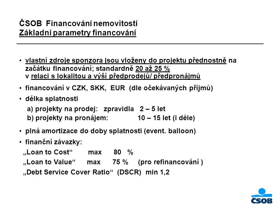ČSOB Financování nemovitostí Základní parametry financování