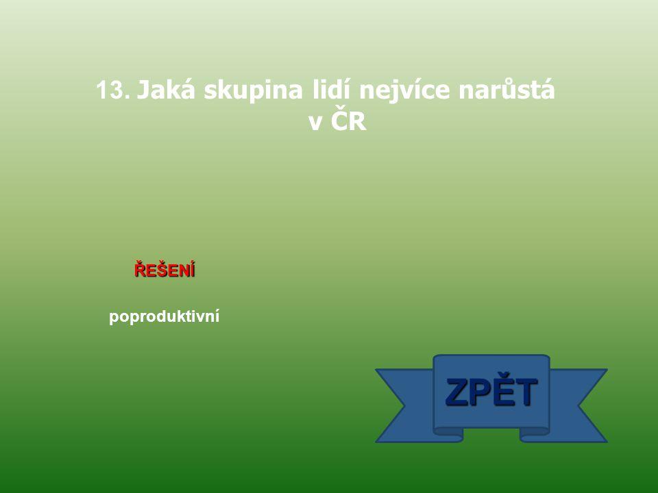 13. Jaká skupina lidí nejvíce narůstá v ČR