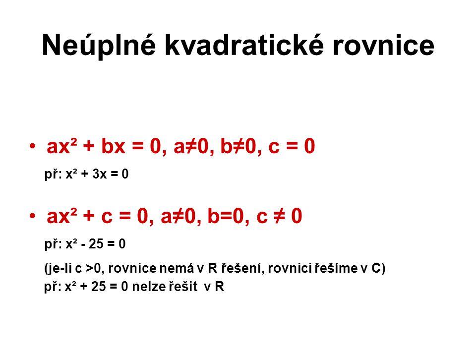 Neúplné kvadratické rovnice