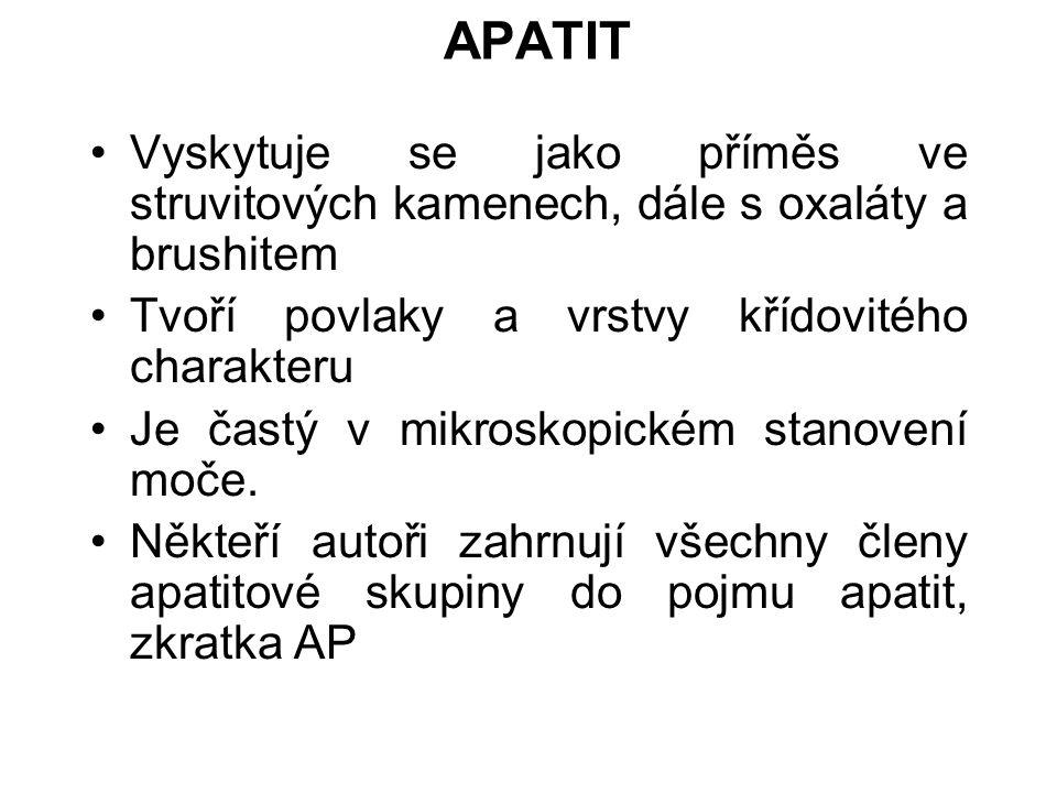 APATIT Vyskytuje se jako příměs ve struvitových kamenech, dále s oxaláty a brushitem. Tvoří povlaky a vrstvy křídovitého charakteru.