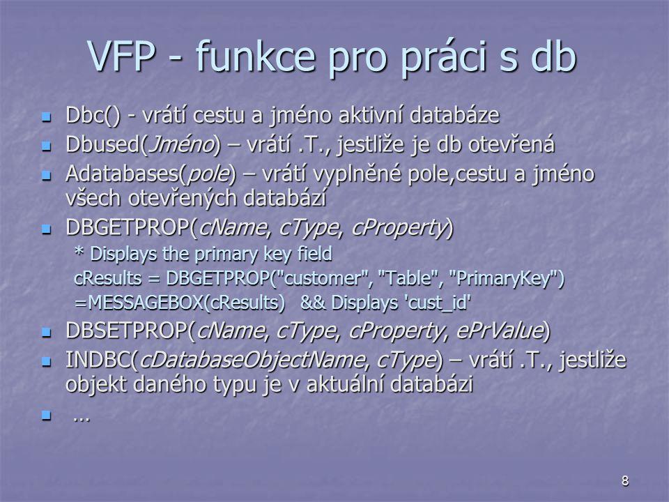 VFP - funkce pro práci s db