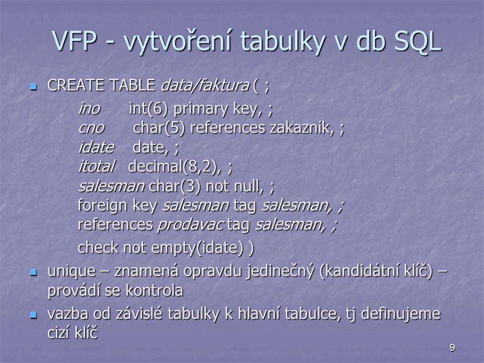 VFP - vytvoření tabulky v db SQL