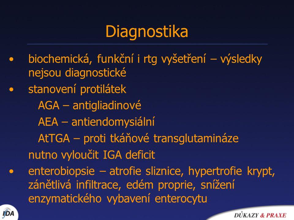 Diagnostika biochemická, funkční i rtg vyšetření – výsledky nejsou diagnostické. stanovení protilátek.
