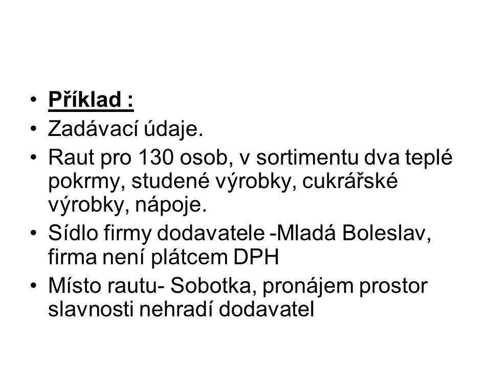 Sídlo firmy dodavatele -Mladá Boleslav, firma není plátcem DPH