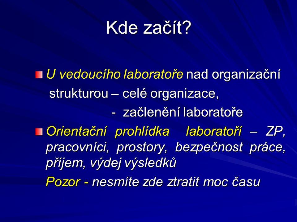 Kde začít U vedoucího laboratoře nad organizační
