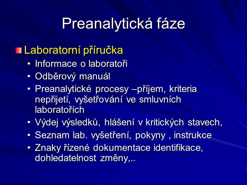 Preanalytická fáze Laboratorní příručka Informace o laboratoři
