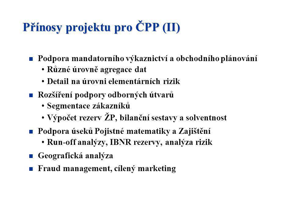 Přínosy projektu pro ČPP (II)